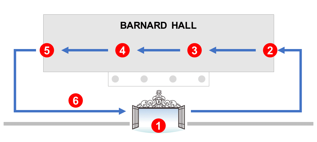 Map for Arrival to Barnard Hall
