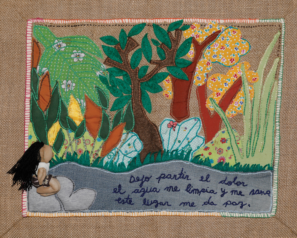 Fabric textile of a woman meditating in nature