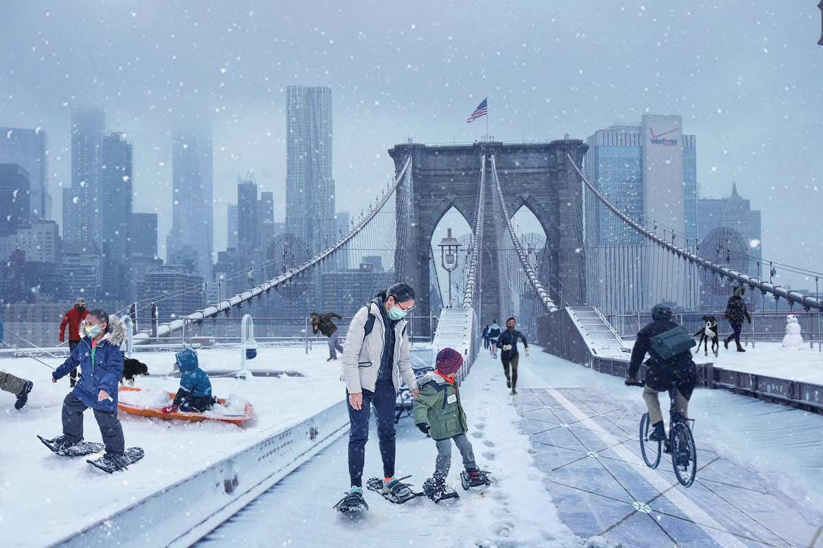An image of people enjoying snow sports on the Brooklyn Bridge