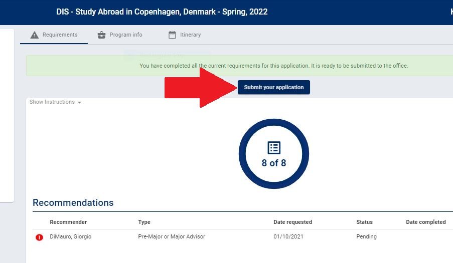 submit application button screen shot