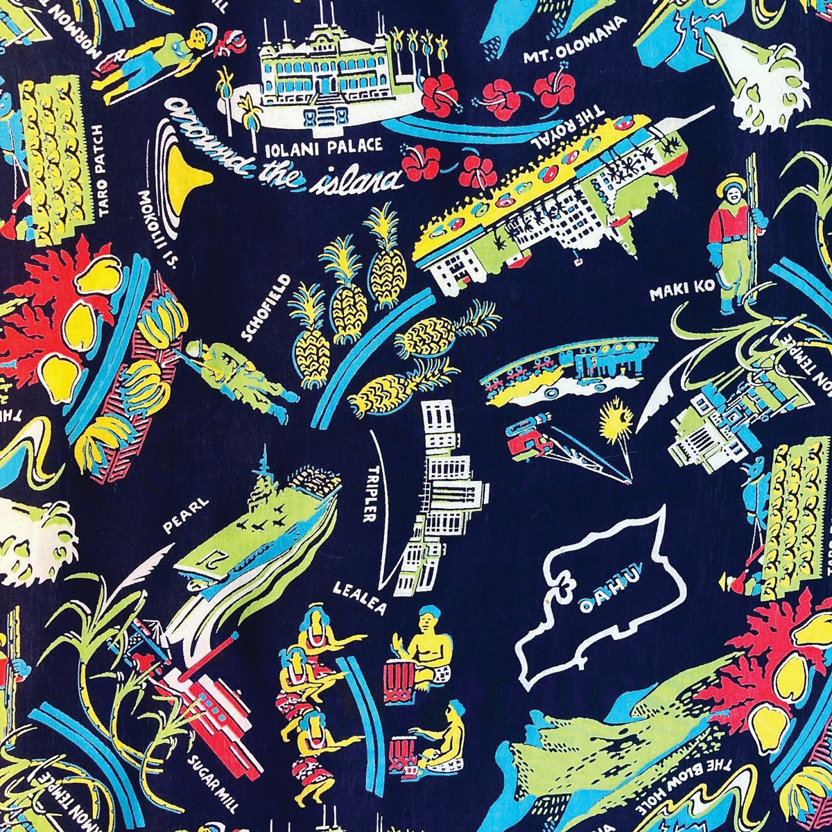 An image of colorful textiles in Hawaiian print