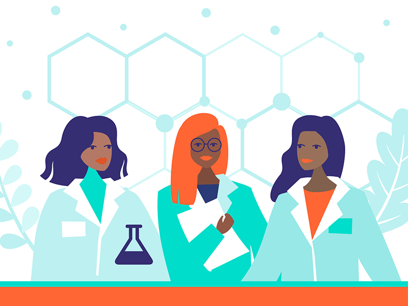 Illustration of three black women wearing lab coats