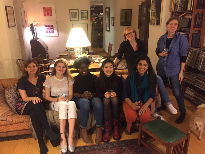 Gina Gionfriddo (left front, playwright and former Centennial Scholar) and Shayoni Mitra (right front, Barnard Theater professor) join Scholars and program directors for dinner.