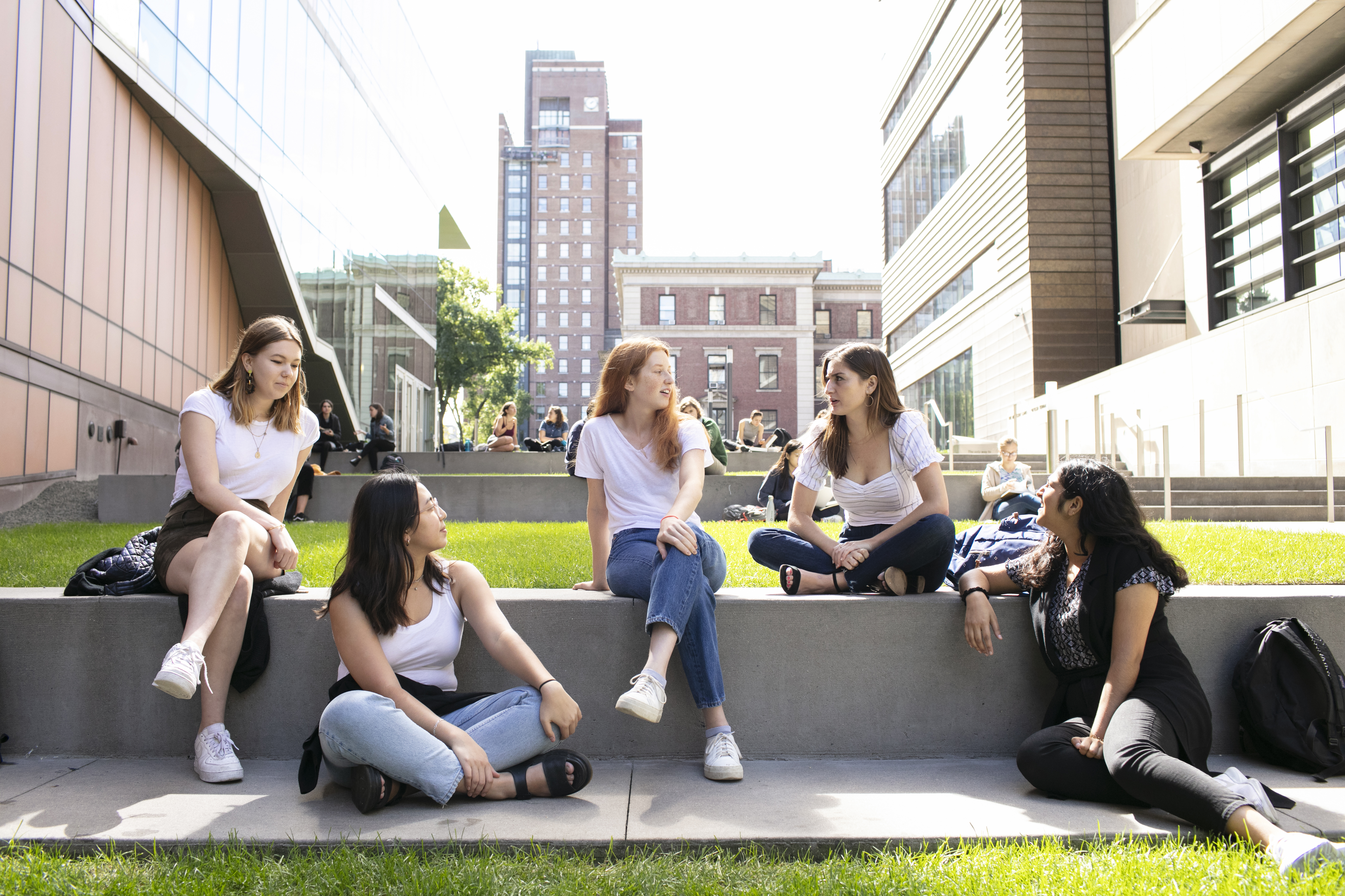 Students sitting on the Diana Steps