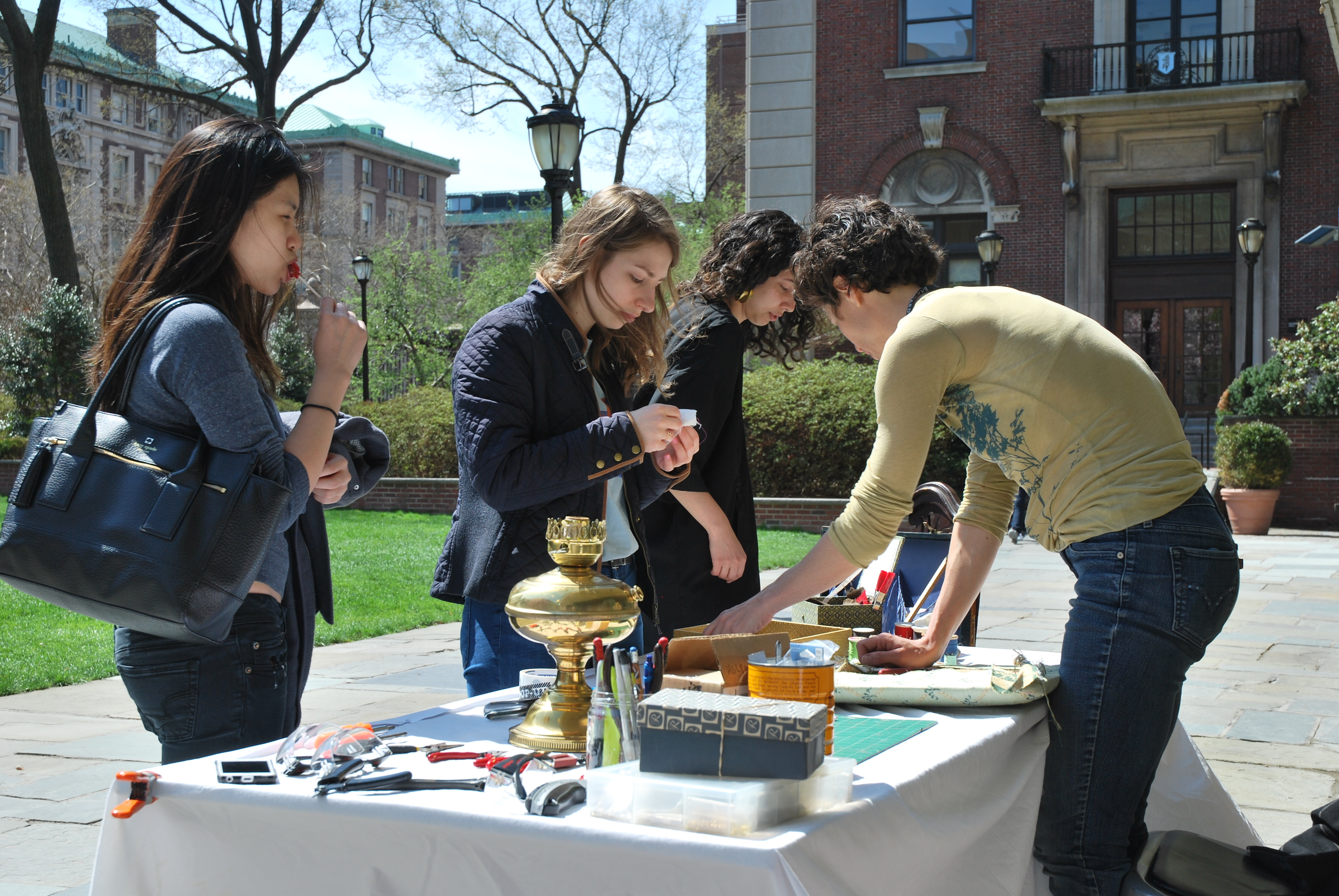 Students selling used goods on campus
