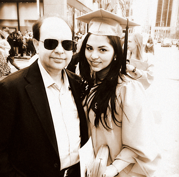 Kanoria with her father at her Barnard graduation.
