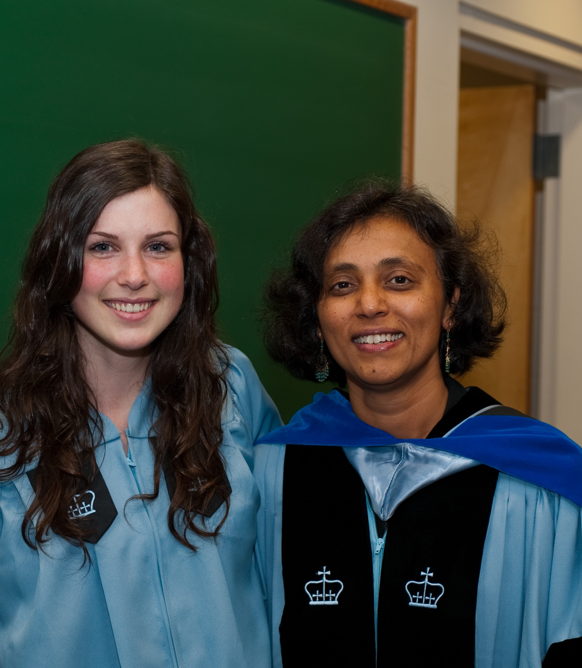 Kara at her Barnard graduation with Mukherjee.