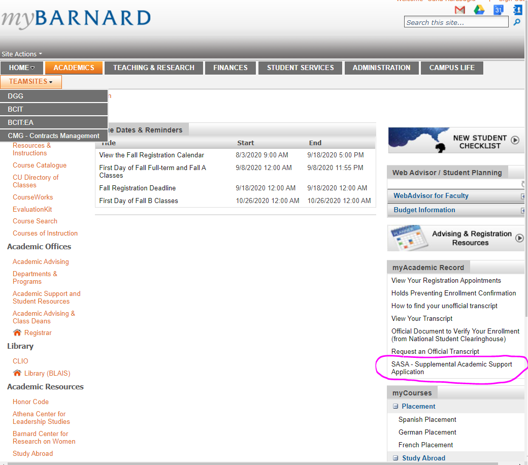 This image shows the mybarnard main screen. To find the application look under Myacademics