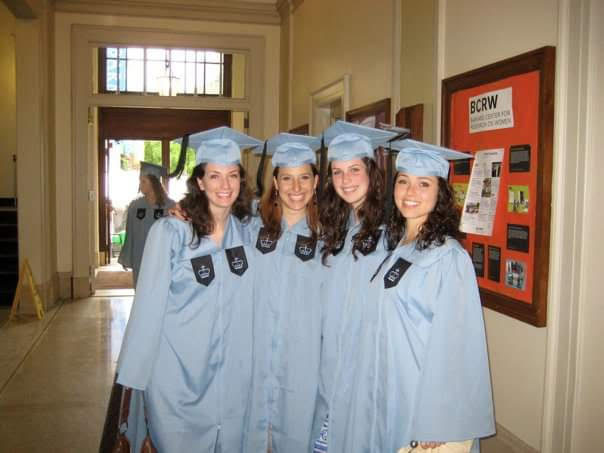 Erin with her three best Barnard friends at their graduation.