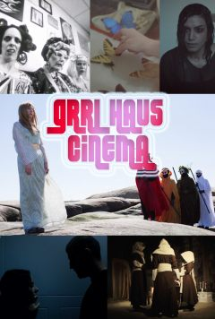Composite of multiple film stills featuring women, and the text Grrl Haus Cinema in a pink vintage font