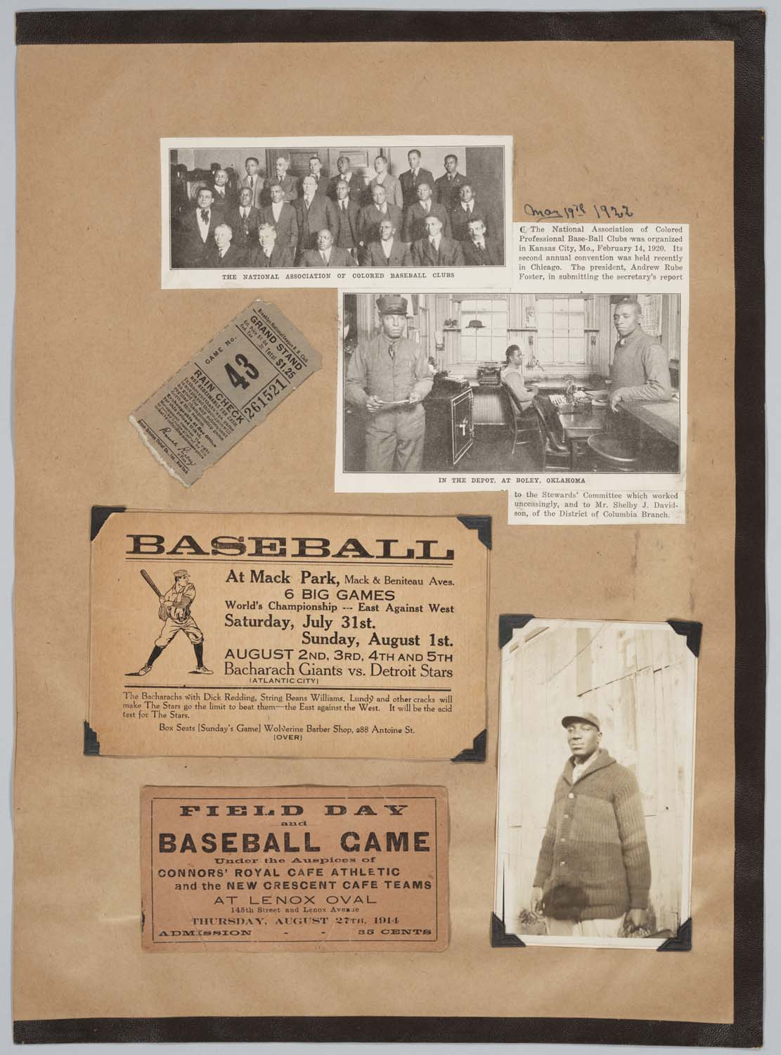 recto page featuring a collage of baseball images: a ticket stub, a clipping about the National Association of Colored Baseball Clubs, a photograph of a player, and a couple of advertisements for games