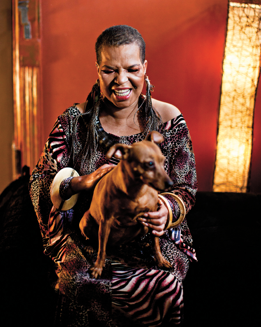Shange with her dog