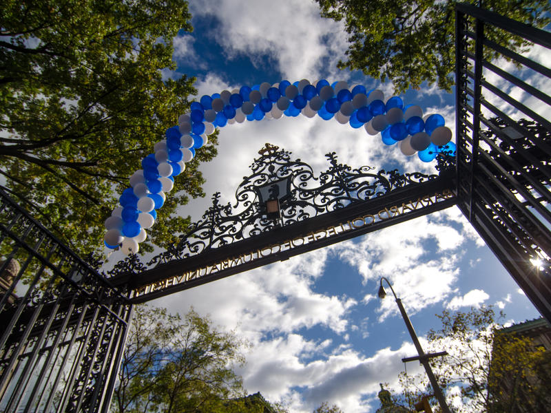 View of barnard gate looking up at balloon arch above the gate and blue sky