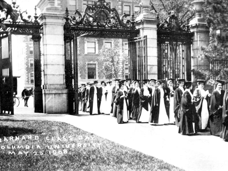 Barnard graduates marching through the College gates in 1908
