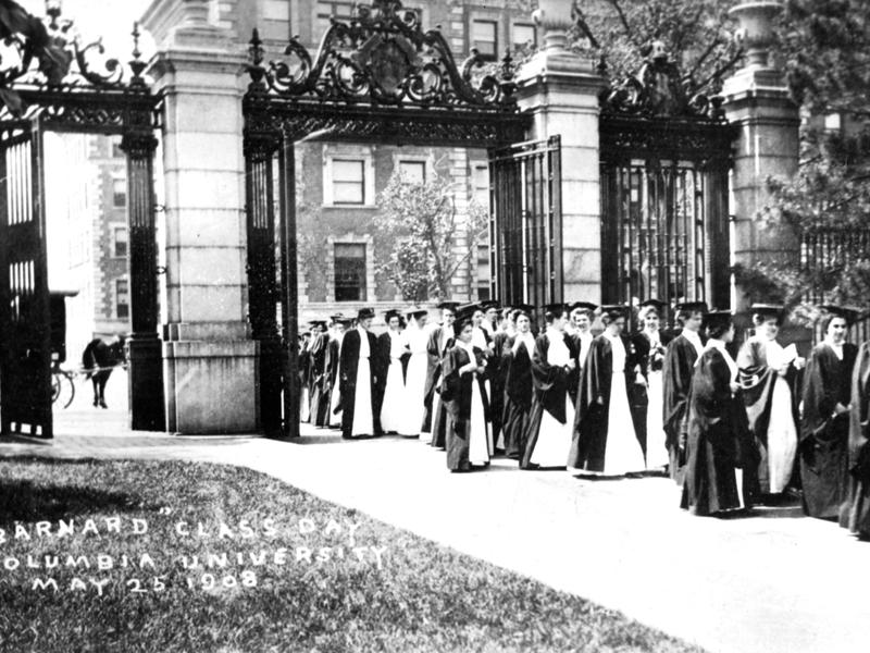 A picture of graduating woman proceeding through Barnard's campus on class day in May 1908. Photo Courtesy the Barnard College Archives.