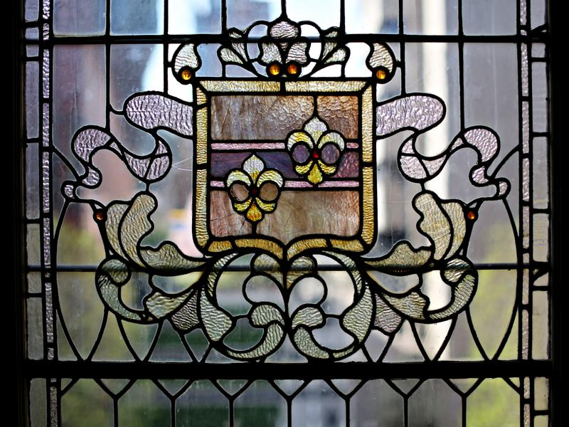 Close up of stained-glass window in Milbank Hall